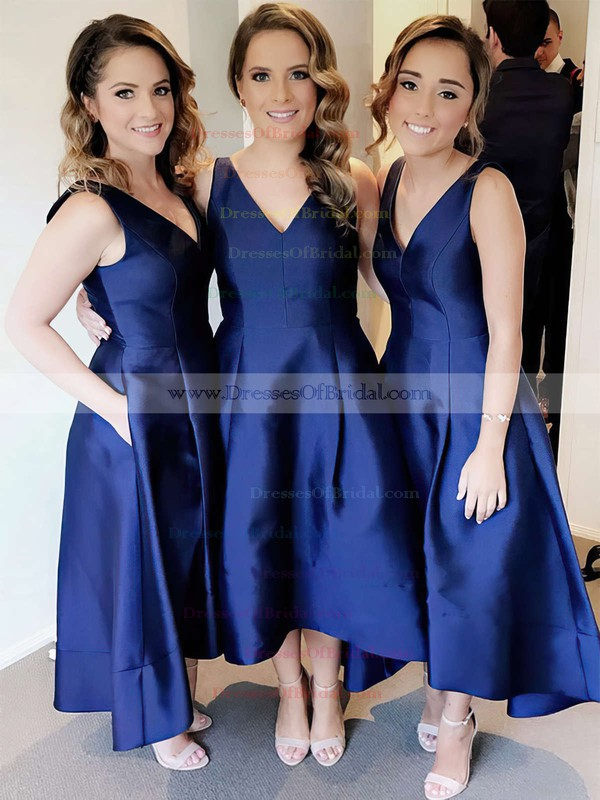 Satin Princess V-neck Tea-length Pockets Bridesmaid Dresses #DOB01013652