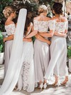 Chiffon A-line Off-the-shoulder Ankle-length Lace Bridesmaid Dresses #DOB01013653