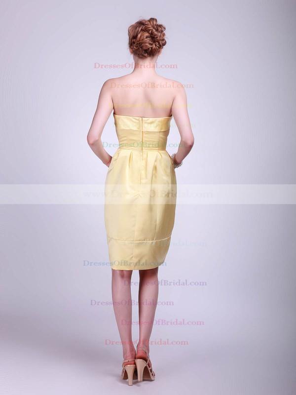 Strapless A-line Knee-length Satin Pockets Bridesmaid Dresses #DOB01012024