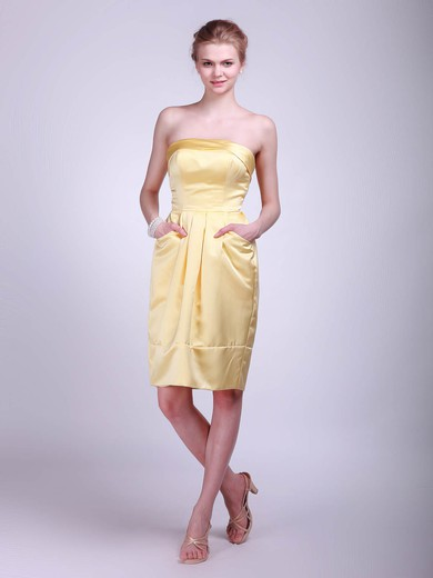 Strapless A-line Knee-length Satin Pockets Bridesmaid Dresses #DOB01012024