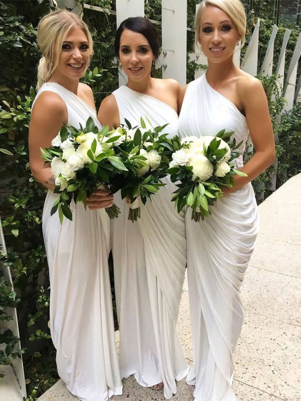 Chiffon Sheath/Column One Shoulder Floor-length Ruffles Bridesmaid Dresses #DOB01013654