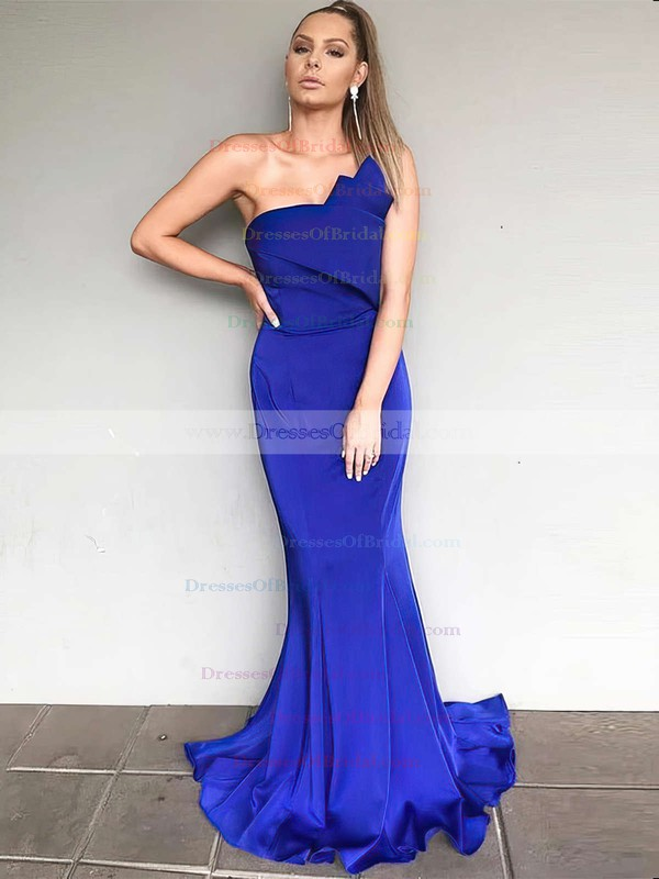 Silk-like Satin Trumpet/Mermaid Strapless Sweep Train Bridesmaid Dresses #DOB01013658