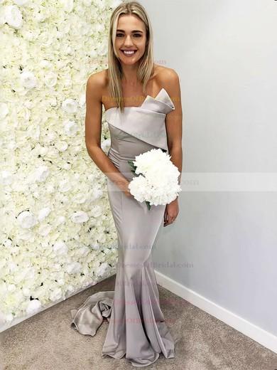 Silk-like Satin Trumpet/Mermaid Strapless Sweep Train Bridesmaid Dresses #DOB01013658