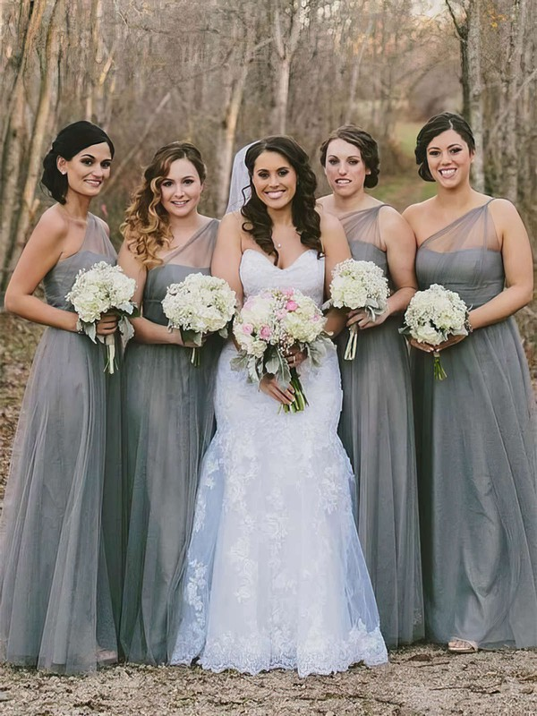 Tulle A-line One Shoulder Floor-length Bridesmaid Dresses #DOB01013660