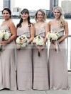Chiffon A-line Scoop Neck Sweep Train Ruffles Bridesmaid Dresses #DOB01013661