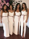 Silk-like Satin Trumpet/Mermaid Scoop Neck Floor-length Sashes / Ribbons Bridesmaid Dresses #DOB01013662