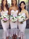 Lace Trumpet/Mermaid Sweetheart Asymmetrical Bridesmaid Dresses #DOB01013663