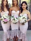 Lace Trumpet/Mermaid Sweetheart Asymmetrical Bridesmaid Dresses #DOB01013663