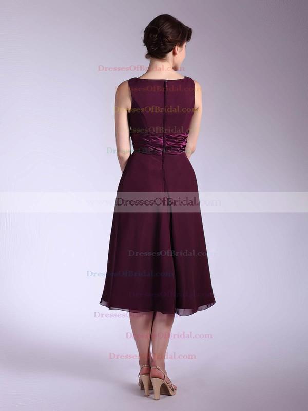 V-neck Empire Tea-length Chiffon Sashes/Ribbons Bridesmaid Dresses #DOB01012030