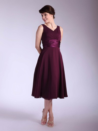 V-neck Empire Tea-length Chiffon Sashes/Ribbons Bridesmaid Dresses #DOB01012030