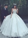 Lace Satin Ball Gown V-neck Floor-length Appliques Lace Wedding Dresses #DOB00023322