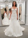 Lace Satin Trumpet/Mermaid V-neck Sweep Train Appliques Lace Wedding Dresses #DOB00023323