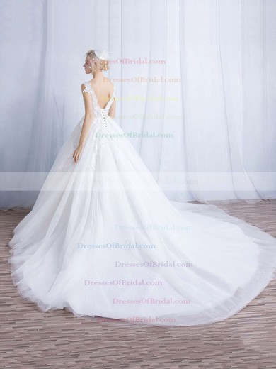 Tulle Ball Gown V-neck Chapel Train Appliques Lace Wedding Dresses #DOB00023324