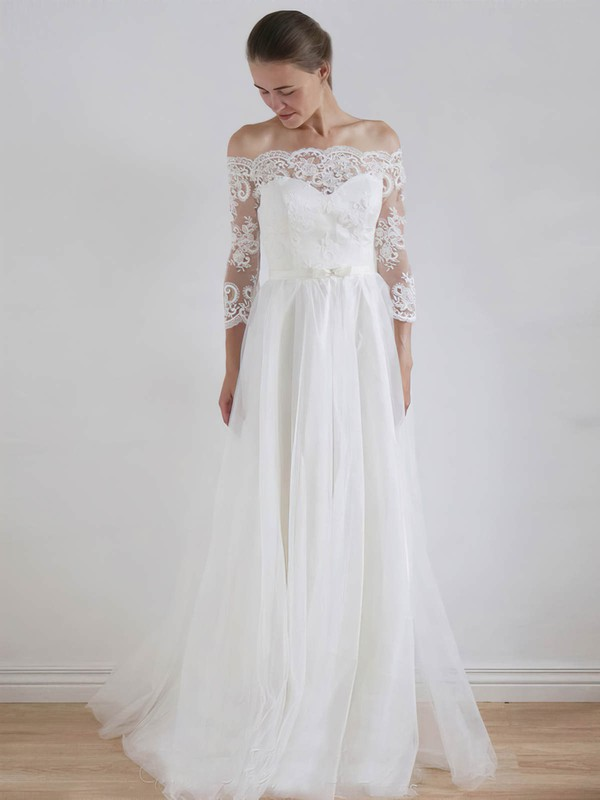 Tulle A-line Off-the-shoulder Floor-length Lace Wedding Dresses #DOB00023325