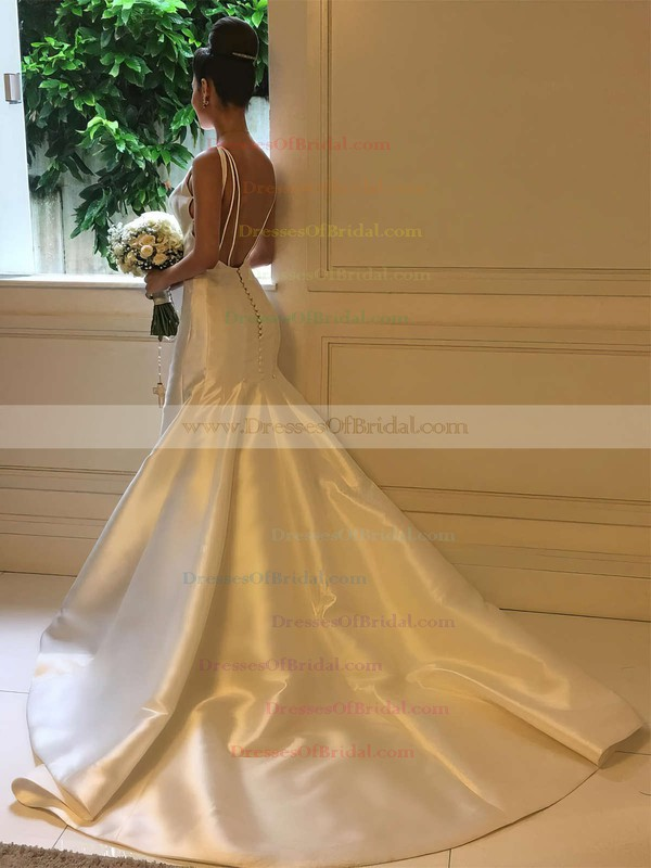 Satin Trumpet/Mermaid Scoop Neck Sweep Train Wedding Dresses #DOB00023326