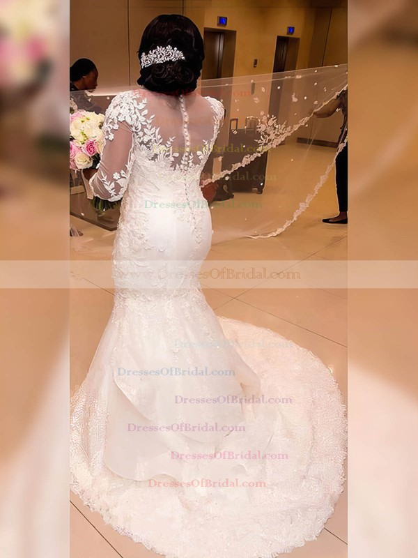 Tulle Trumpet/Mermaid Scoop Neck Sweep Train Appliques Lace Wedding Dresses #DOB00023327