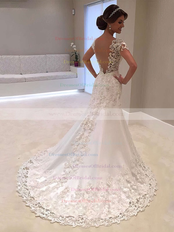 Satin Tulle Trumpet/Mermaid V-neck Sweep Train Beading Wedding Dresses #DOB00023328