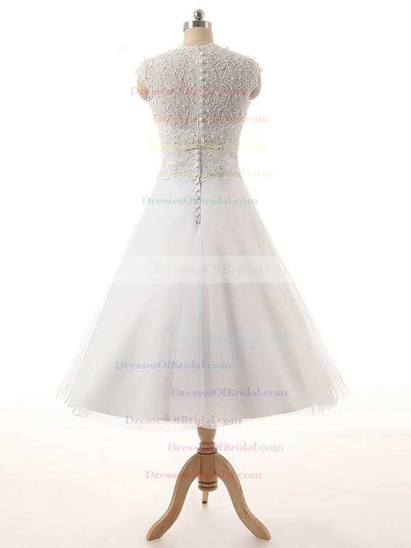 Tulle Princess Scoop Neck Tea-length Lace Wedding Dresses #DOB00023329