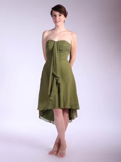Strapless A-line Asymmetrical Chiffon Pleats Bridesmaid Dresses #DOB01012031