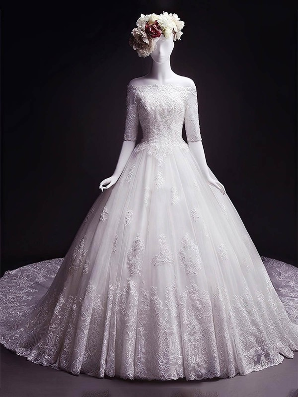Tulle Ball Gown Off-the-shoulder Chapel Train Appliques Lace Wedding Dresses #DOB00023332