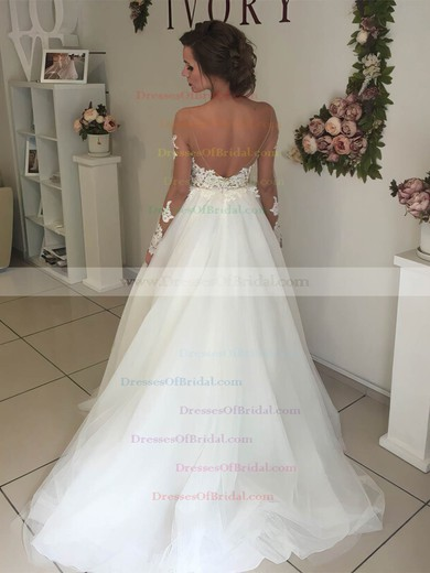 Tulle Ball Gown Scoop Neck Sweep Train Appliques Lace Wedding Dresses #DOB00023333