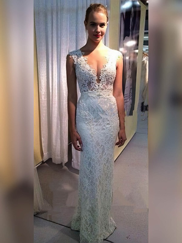 Lace Sheath/Column V-neck Floor-length Appliques Lace Wedding Dresses #DOB00023334