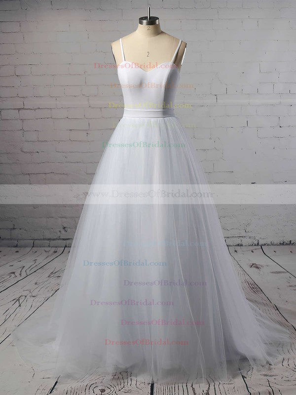 Tulle Ball Gown Sweetheart Sweep Train Sashes / Ribbons Wedding Dresses #DOB00023335