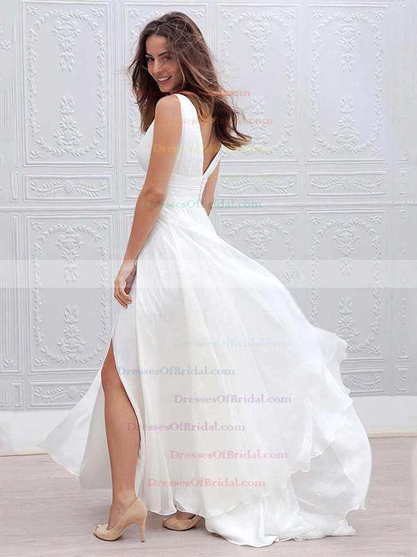 Chiffon Empire V-neck Floor-length Ruffles Wedding Dresses #DOB00023336