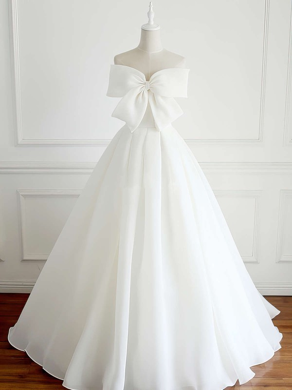 Organza Ball Gown Strapless Floor-length Bow Wedding Dresses #DOB00023337