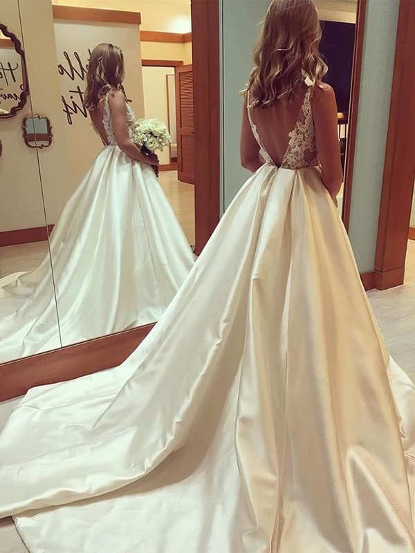 Satin Tulle Ball Gown Scoop Neck Court Train Appliques Lace Wedding Dresses #DOB00023338