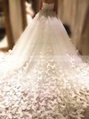 Tulle Ball Gown Sweetheart Chapel Train Flower(s) Wedding Dresses #DOB00023339