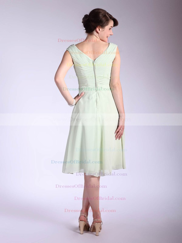V-neck A-line Tea-length Chiffon Pleats Bridesmaid Dresses #DOB01012032