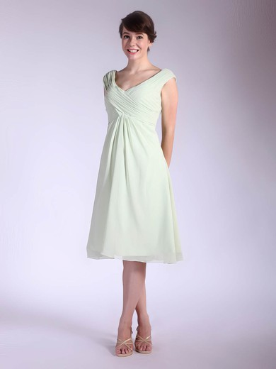 V-neck A-line Tea-length Chiffon Pleats Bridesmaid Dresses #DOB01012032