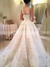 Lace Ball Gown Scoop Neck Court Train Appliques Lace Wedding Dresses #DOB00023341