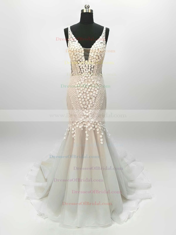 Tulle Trumpet/Mermaid V-neck Sweep Train Lace Wedding Dresses #DOB00023342