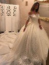 Organza Ball Gown Off-the-shoulder Chapel Train Appliques Lace Wedding Dresses #DOB00023343