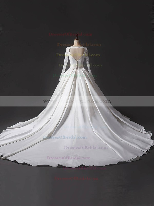Lace Satin Ball Gown V-neck Chapel Train Sashes / Ribbons Wedding Dresses #DOB00023344