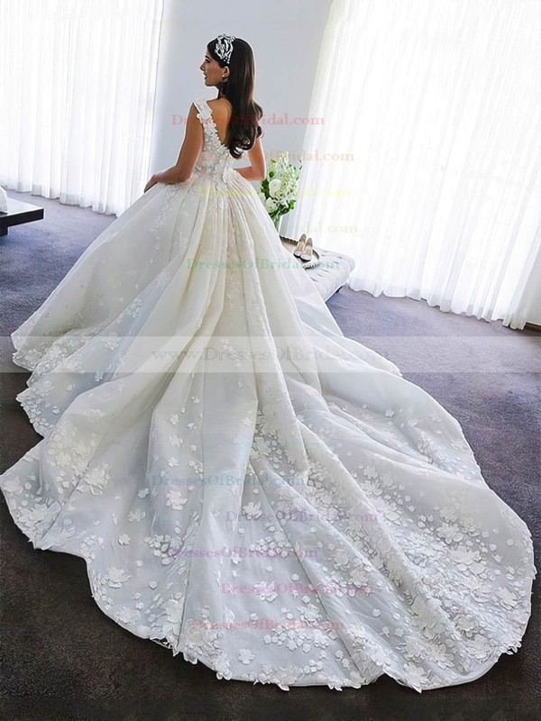 Satin Ball Gown V-neck Cathedral Train Flower(s) Wedding Dresses #DOB00023345