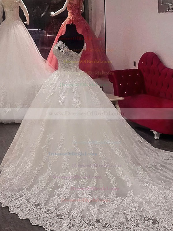Tulle Ball Gown Off-the-shoulder Chapel Train Appliques Lace Wedding Dresses #DOB00023346