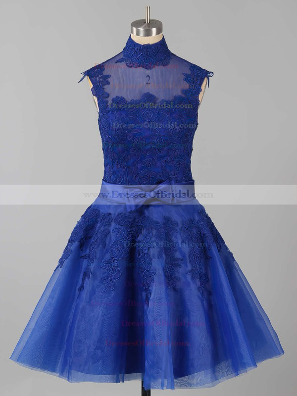 High Neck Tulle Appliques Lace Inexpensive Knee-length Bridesmaid Dresses #DOB010020101414