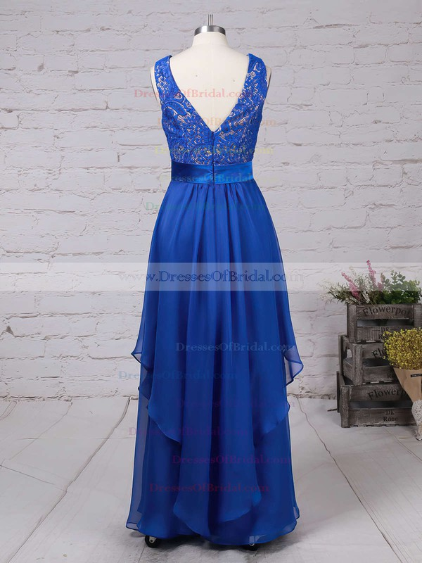 Scoop Neck Lace Chiffon Floor-length Sashes / Ribbons Royal Blue Bridesmaid Dresses #DOB010020101628