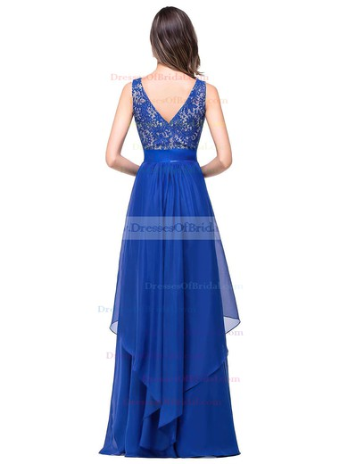 Scoop Neck Lace Chiffon Floor-length Sashes / Ribbons Royal Blue Bridesmaid Dresses #DOB010020101628