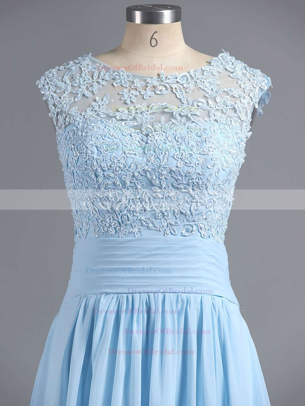 Discounted A-line Scoop Neck Chiffon Tulle Appliques Lace Light Sky Blue Bridesmaid Dresses #DOB010020101630