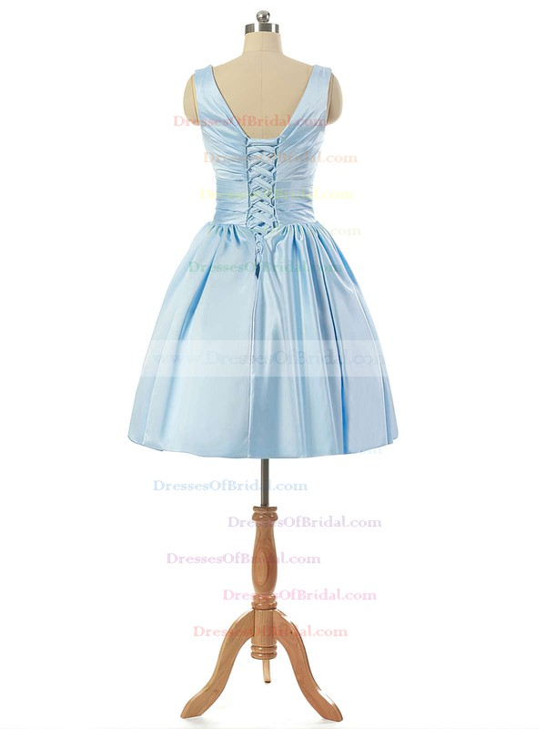 V-neck Light Sky Blue Satin Lace-up Pleats Short/Mini Bridesmaid Dresses #DOB010020101795