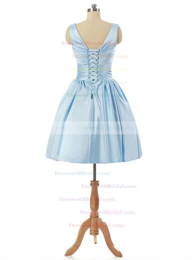 V-neck Light Sky Blue Satin Lace-up Pleats Short/Mini Bridesmaid Dresses #DOB010020101795