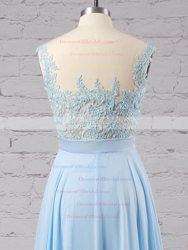 Affordable Scoop Neck Blue Chiffon Tulle Appliques Lace Floor-length Bridesmaid Dresses #DOB010020101989