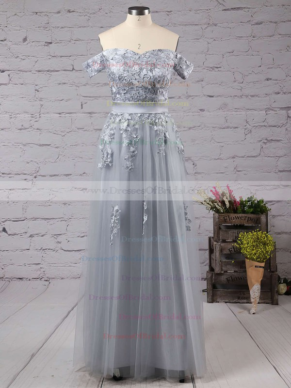 New A-line Gray Tulle Appliques Lace Off-the-shoulder Bridesmaid Dresses #DOB010020102047