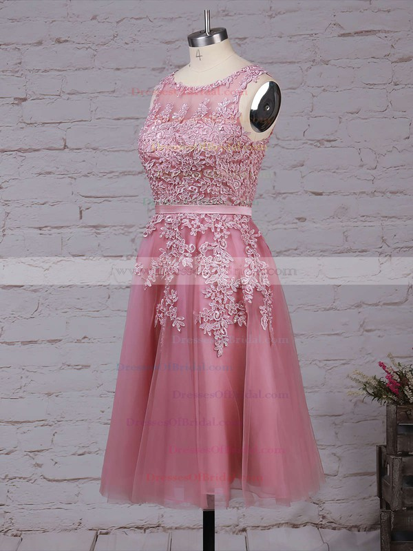 New Style Scoop Neck Tulle Appliques Lace Knee-length Bridesmaid Dresses #DOB010020102050