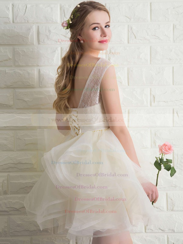 Wholesale Scoop Neck Lace Tulle with Bow Short/Mini Bridesmaid Dresses #DOB010020102158