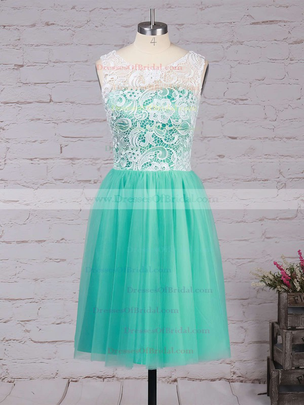 Scoop Neck Tulle with Lace Covered Buttons Short/Mini Bridesmaid Dresses #DOB010020102213